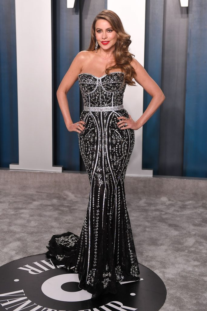 Sofia Vergara, black dress with embellishment, trumpet gown, Vanity Fair Oscar Party, Arrivals, Fashion Highlights, Los Angeles, USA - 09 Feb 2020