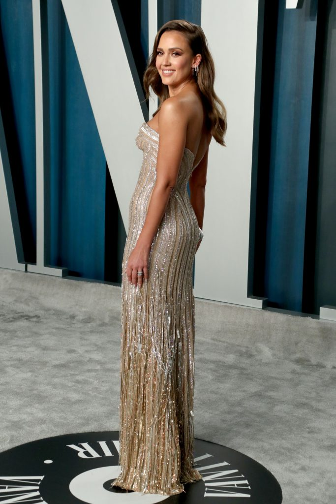 Jessica Alba, versace gown, celebrity style, red carpet, Vanity Fair Oscar Party, Arrivals, Los Angeles, USA - 09 Feb 2020Wearing Atelier Versace