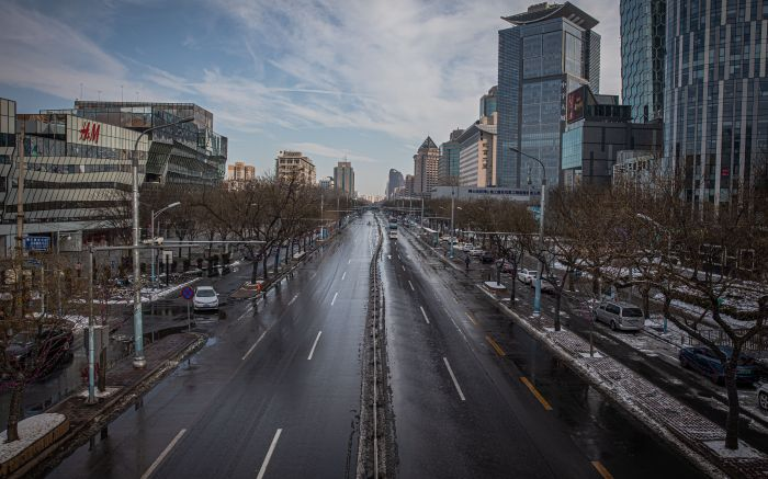 An empty road at the Sanlitun area, in Beijing, China, 08 February 2020. The novel coronavirus (2019-nCoV), which originated in the Chinese city of Wuhan, has so far killed at least 724 people and infected over 34,000 others, mostly in China.Coronavirus death toll rises to 724, over 34,000 infected, Beijing, China - 08 Feb 2020