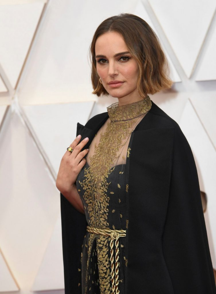 Natalie Portman, cape, dior, celebrity style, arrives at the Oscars, at the Dolby Theatre in Los Angeles92nd Academy Awards - Arrivals, Los Angeles, USA - 09 Feb 2020