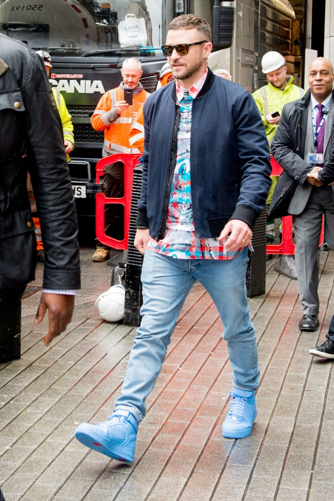 Justin Timberlake, Just Don x Nike Air Force 1 High,, Celebrities at BBC Radio 1, BBC Broadcast House, London, UK - 13 Feb 2020Wearing limited edition Don Crawleys Don C x Nike Air Force 1 High