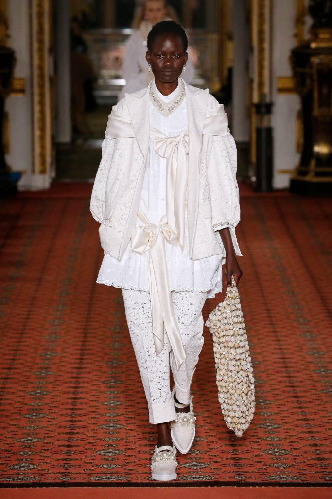 simone rocha, pearl embellishment, runway, lfw, Model on the catwalkSimone Rocha show, Runway, Fall Winter 2020, London Fashion Week, UK - 16 Feb 2020