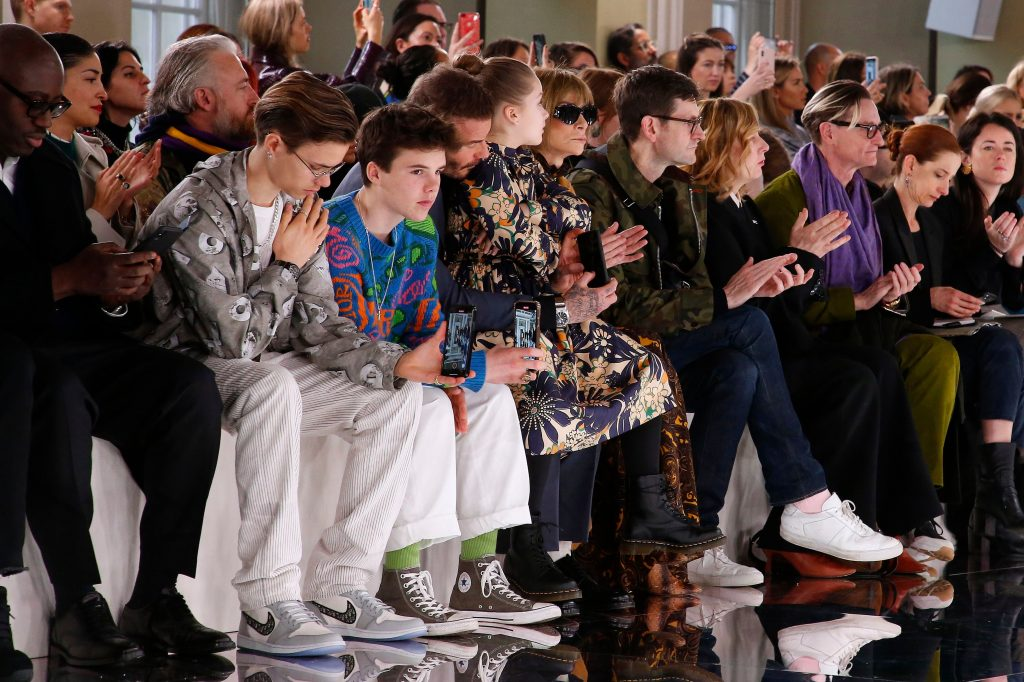 Romeo Beckham, Cruz Beckham, David Beckham and Harper Beckham in the front rowVictoria Beckham show, Front Row, Fall Winter 2020, London Fashion Week, UK - 16 Feb 2020
