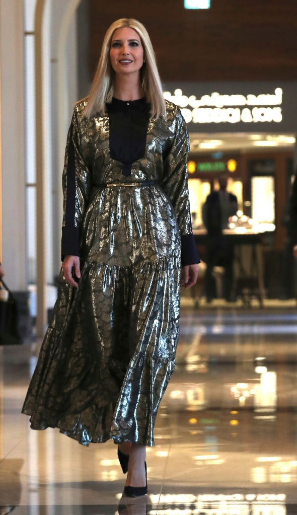 ivanka trump, layeur amos dress, sparkly midi dress, black pumps, celebrity style, Senior Advisor to the President, Ivanka Trump leaves her hotel in Dubai to Abu Dhabi to visit the Louvre Museum, United Arab Emirates, . Ivanka Trump will deliver keynote address at Global Women's Forum in Dubai on SundayEmirates Ivanka Trump, Abu Dhabi, United Arab Emirates - 15 Feb 2020
