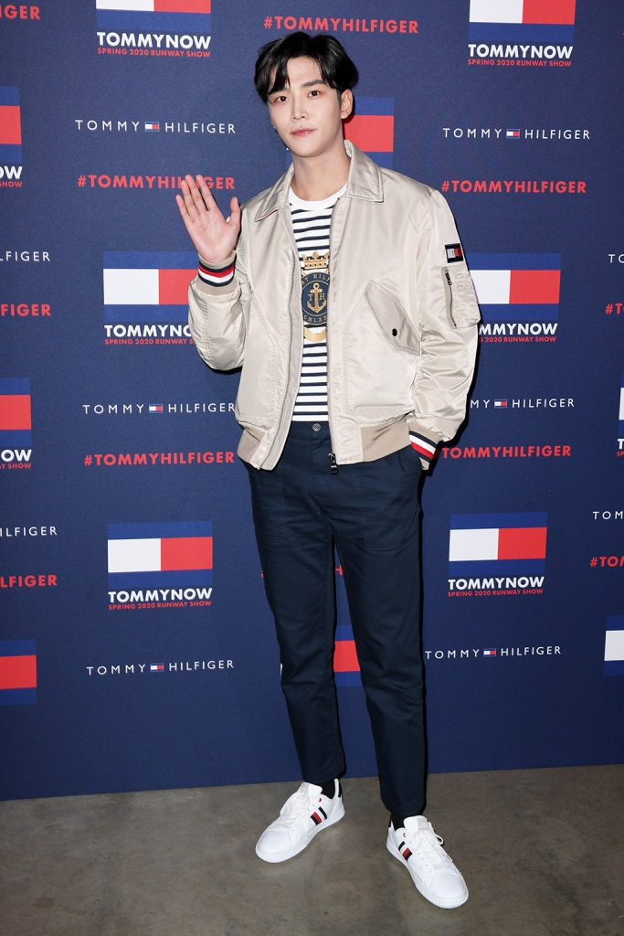 Rowoon, t shirt, bomber jacket, blue pants, striped sneakers, cleebrity style, k pop, Tommy Hilfiger show, Arrivals, Fall Winter 2020, London Fashion Week, UK - 16 Feb 2020