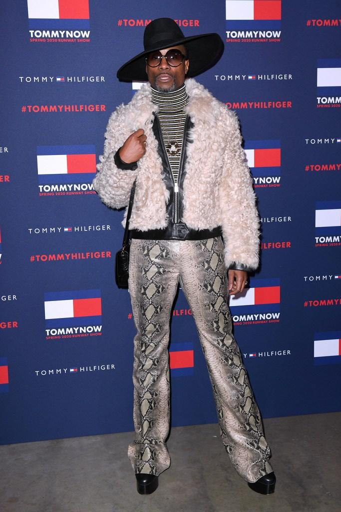 Billy Porter, python pants, striped turtleneck, shearling coat, platform boots, Tommy Hilfiger show, Arrivals, Fall Winter 2020, London Fashion Week, UK - 16 Feb 2020