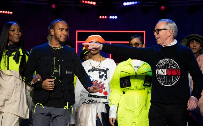tommy hilfiger, lewis hamilton, naomi campbell, British model Naomi Campbell (L) and F1 driver Lewis Hamilton (2-L) appear on the catwalk with US designer Tommy Hilfiger (R) during Hilfiger's show at London Fashion Week, in London, Britain, 16 February 2020. The Women's Autumn-Winter 2020/2021 collections are presented at the LFW until 18 February 2020.Tommy Hilfiger - Runway - London Fashion Week Autumn Winter collections, United Kingdom - 16 Feb 2020