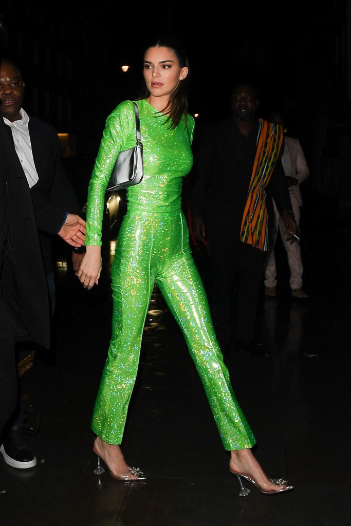 Kendall Jenner, green shirt, green pants, amina muaddi heels, 40th Brit Awards, Sony Music After Party, Arrivals, The Standard, London, UK - 18 Feb 2020Wearing Saks Potts Shoes By Amina Muaddi