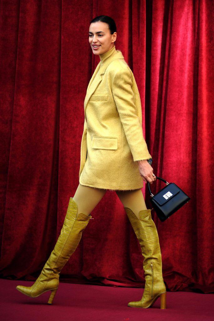Irina ShaykFurla presentation, Piazza Beccaria, Milan, Italy - 20 Feb 2020Wearing Max Mara Same Outfit as catwalk model *10113148t, Bag By Furla