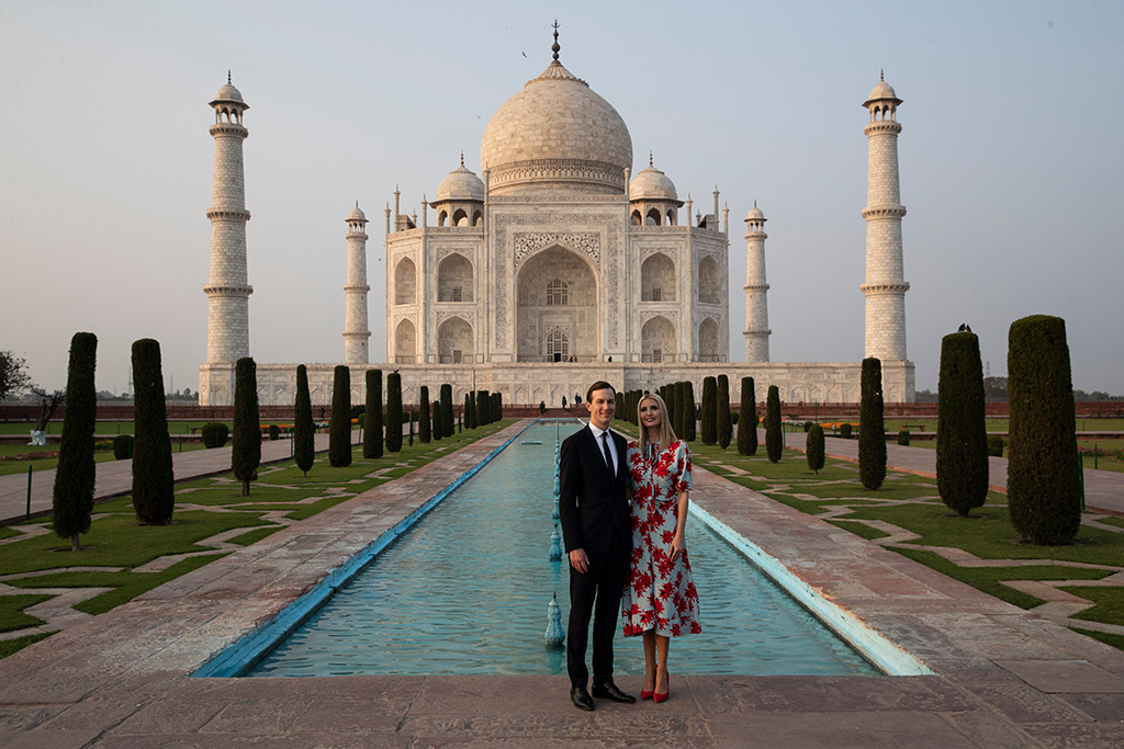ivanka trump, celebrity style, proenza schouler, floral dress, red pumps, Jared Kushner, Ivanka Trump. White House Senior Adviser Jared Kushner, left, and his wife Ivanka Trump, the daughter and assistant to President Donald Trump, pause as they tour the Taj Mahal, in Agra, IndiaTrump, Agra, India - 24 Feb 2020