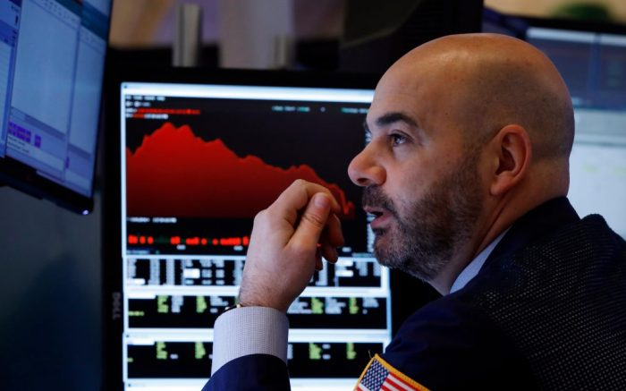 Trader Fred DeMarco works on the floor of the New York Stock Exchange, . Global stock markets are falling further on spreading virus fearsFinancial Markets Wall Street, New York, USA - 28 Feb 2020