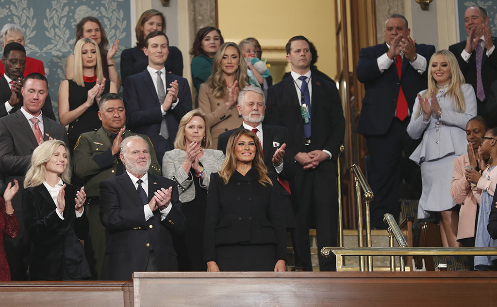 First Lady Melania Trump (C, bottom), her guests and members of the Trump family, arrive in the First Lady's box at the House chamber to attend US President Donald Trump's State of the Union address to a joint session of the US Congress in the House chamber of the US Capitol in Washington, DC, USA, 04 February 2020.US President Donald J. Trump State of the Union address in DC, Washington, USA - 04 Feb 2020