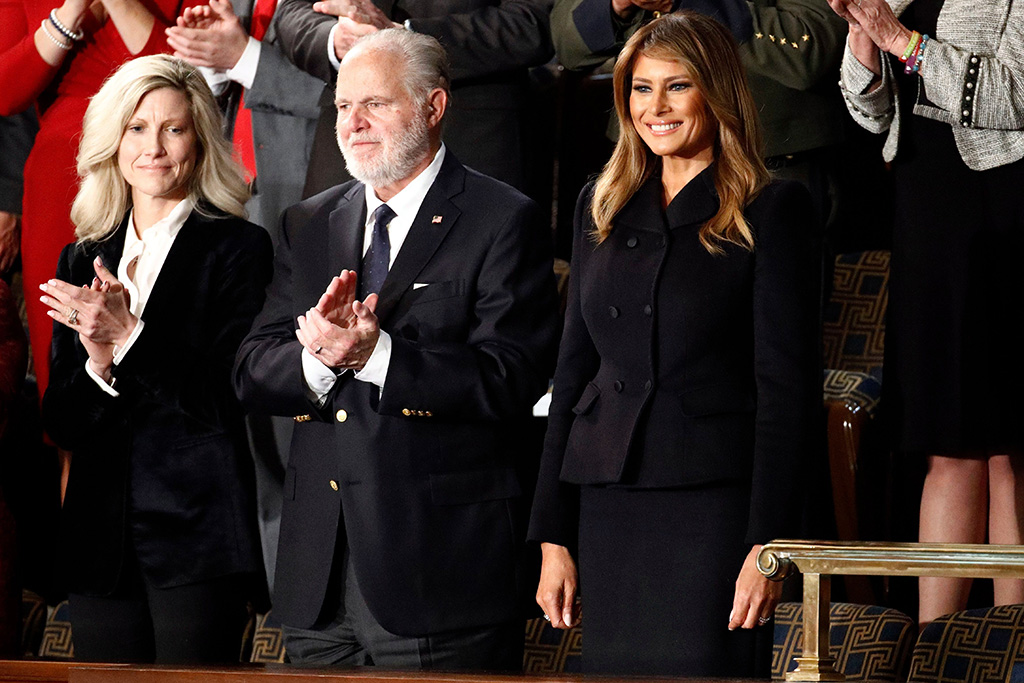 First Lady Melania Trump arrives before President Donald Trump delivers his State of the Union address to a joint session of Congress on Capitol Hill in Washington, . At center is Rush LinbaughState of the Union, Washington, USA - 04 Feb 2020
