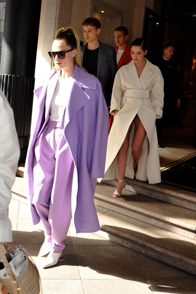 cara delevingne, purple pantsuit, coat, white boots, girlfriend, ashley benson, white coat, sandals, legs, MFW-Cara Delevingne, Ashley Benson Sightings Hotel Milan Fashion Week Fall/Winter 2020Pictured: Cara Delevingne,Ashley BensonRef: SPL5151049 230220 NON-EXCLUSIVEPicture by: Gigi Iorio / SplashNews.comSplash News and PicturesLos Angeles: 310-821-2666New York: 212-619-2666London: +44 (0)20 7644 7656Berlin: +49 175 3764 166photodesk@splashnews.comWorld Rights, No Italy Rights