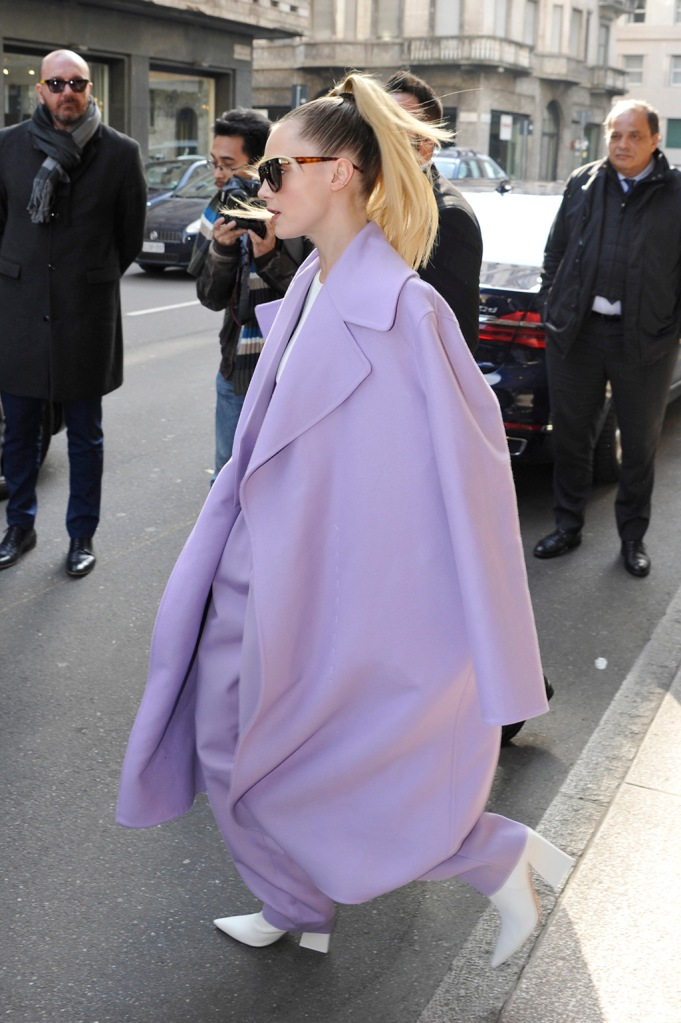 cara delevingne, purple coat, pantsuit, white boots, MFW-Cara Delevingne, Ashley Benson Sightings Hotel Milan Fashion Week Fall/Winter 2020Pictured: Cara Delevingne,Ashley BensonRef: SPL5151049 230220 NON-EXCLUSIVEPicture by: Gigi Iorio / SplashNews.comSplash News and PicturesLos Angeles: 310-821-2666New York: 212-619-2666London: +44 (0)20 7644 7656Berlin: +49 175 3764 166photodesk@splashnews.comWorld Rights, No Italy Rights