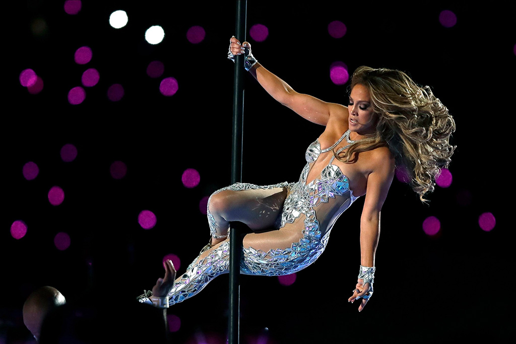 Jennifer Lopez, silver bodysuit, stripper pole, catsuit, superbowl , performs during halftime of the NFL Super Bowl 54 football game between the San Francisco 49ers and the Kansas City Chiefs, in Miami Gardens, Fla49ers Chiefs Super Bowl Football, Miami Gardens, USA - 02 Feb 2020