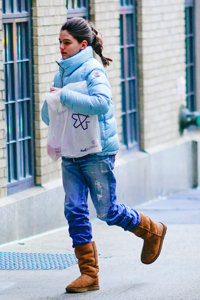Suri Cruise, colmar, blue down jacket, ugg classic tall boots, shearling boots, celebrity style, street style, nyc, 2020