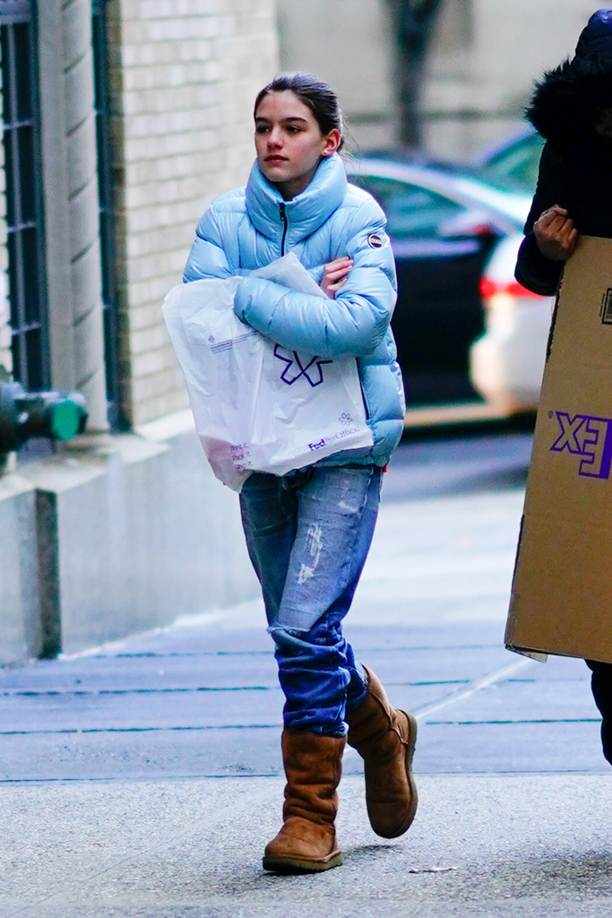 Suri Cruise, colmar, blue down jacket, ugg classic tall boots, shearling boots, celebrity style, street style, nyc