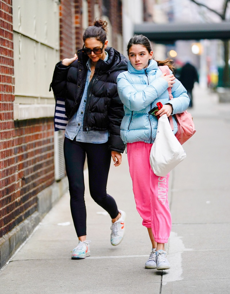 Katie Holmes, veja x madewell sneakers, leggings, puffer jacket, denim shirt, suri cruise, pink sweats, and look-a-like daugher Suri Cruise out and about in New York visiting Suri's friendPictured: Katie Holmes; Suri CruiseRef: SPL5144665 010220 NON-EXCLUSIVEPicture by: Jackson Lee / SplashNews.comSplash News and PicturesLos Angeles: 310-821-2666New York: 212-619-2666London: +44 (0)20 7644 7656Berlin: +49 175 3764 166photodesk@splashnews.comWorld Rights, No Portugal Rights