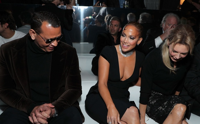 Alex Rodriguez, Jennifer Lopez and Renee Zellweger in the front rowTom Ford show, Front Row, Fall Winter 2020, Milk Studios, Los Angeles, USA - 07 Feb 2020