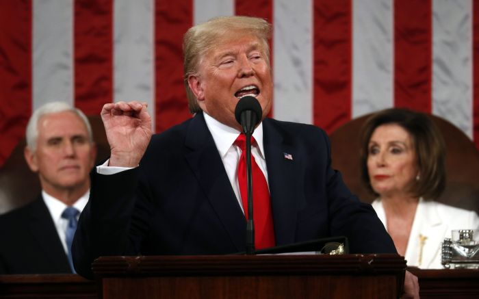 US President Donald Trump (C) delivers his State of the Union address to a joint session of the US Congress in the House chamber of the US Capitol in Washington, DC, USA, 04 February 2020.US President Donald J. Trump State of the Union address in DC, Washington, USA - 04 Feb 2020