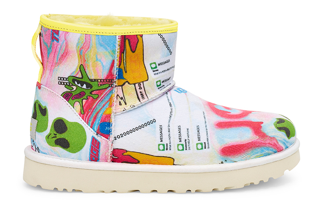 Ugg Classic Mini Pop Angeles boot, boots, yellow, pattern, pink