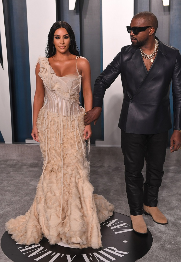 Kim Kardashian, alexander mcqueen dress, kanye West , dunhill suit, leather suit, celebrity style, and Kanye WestVanity Fair Oscar Party, Arrivals, Los Angeles, USA - 09 Feb 2020