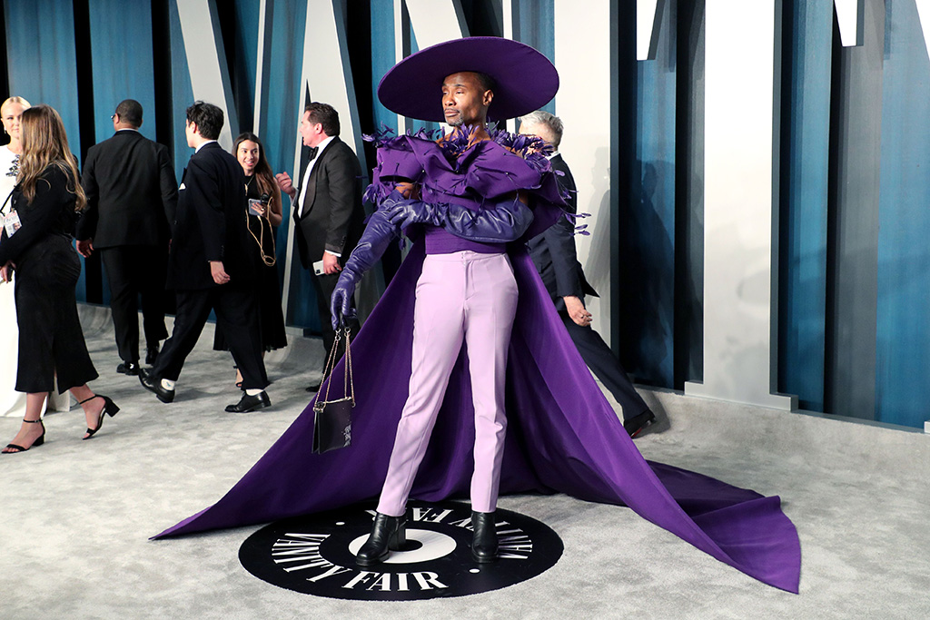 Billy Porter, purple outfit, cape, hat, Vanity Fair Oscar Party, Arrivals, Los Angeles, USA - 09 Feb 2020Wearing Christian Siriano