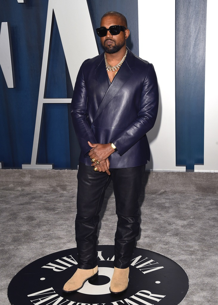 Kanye West, alfred dunhill, leather suit, celebrity style, red carpet, Vanity Fair Oscar Party, Arrivals, Los Angeles, USA - 09 Feb 2020