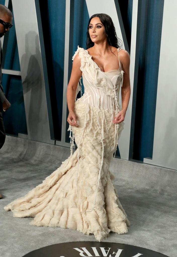 Kim Kardashian , vintage gown, alexander mcqueen spring 2003, archival dress, oyster gown, WestVanity Fair Oscar Party, Arrivals, Los Angeles, USA - 09 Feb 2020