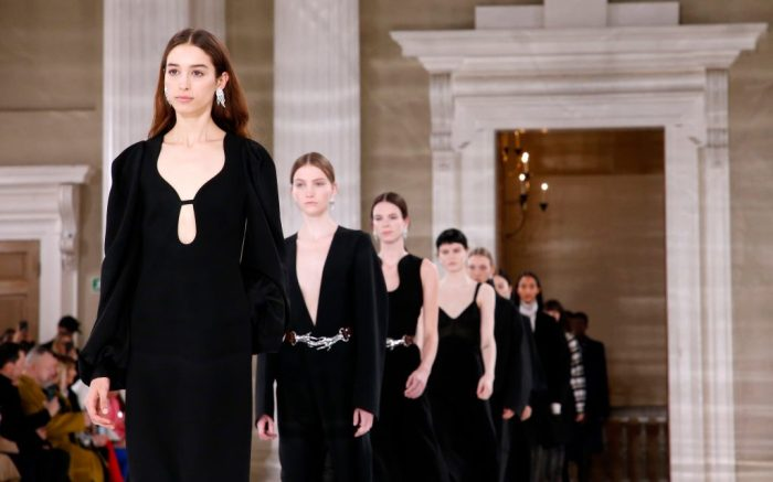 Models on the catwalkVictoria Beckham show, Runway, Fall Winter 2020, London Fashion Week, UK - 16 Feb 2020