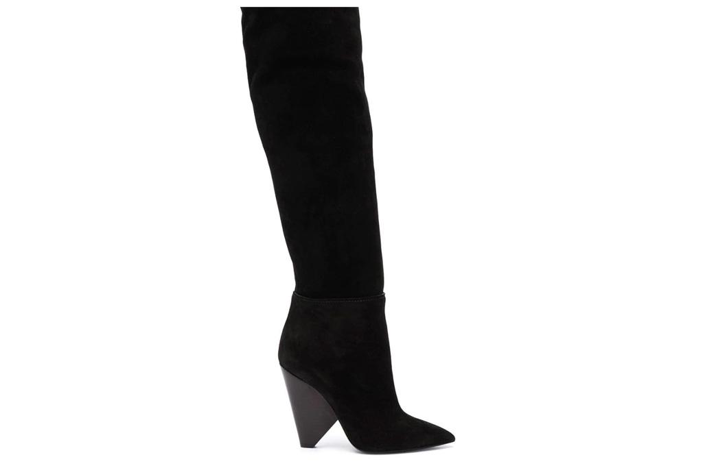 ysl, saint laurent, slouchy boots, cone heel, black