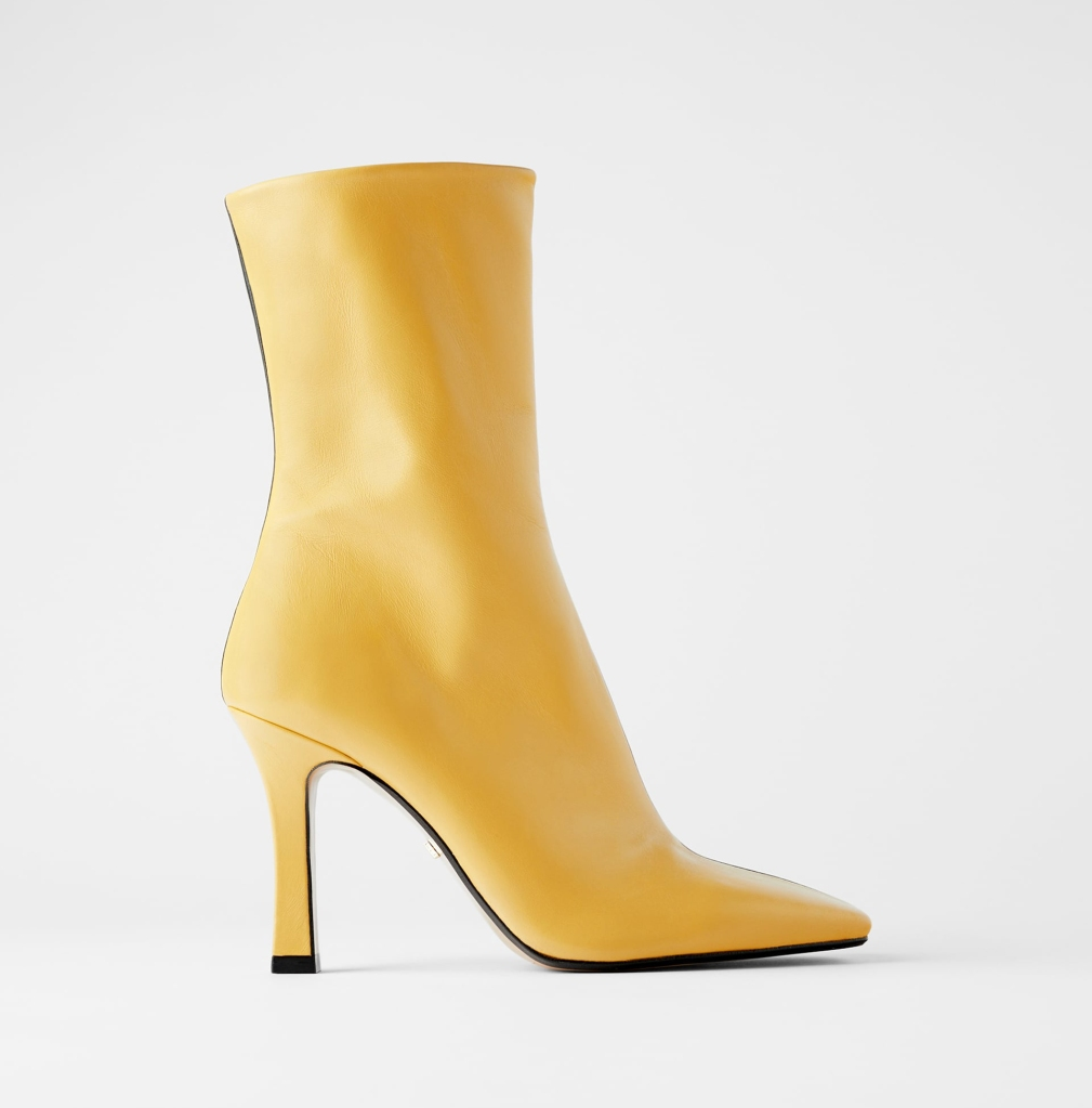 Heeled leather ankle boots, zara, black, yellow, square toe
