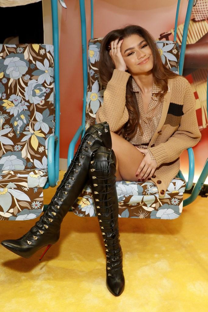Zendaya, fendi, spring 2020, celebrity style, shorts, cardigan sweater, christian louboutin shoes, nyfw, party,