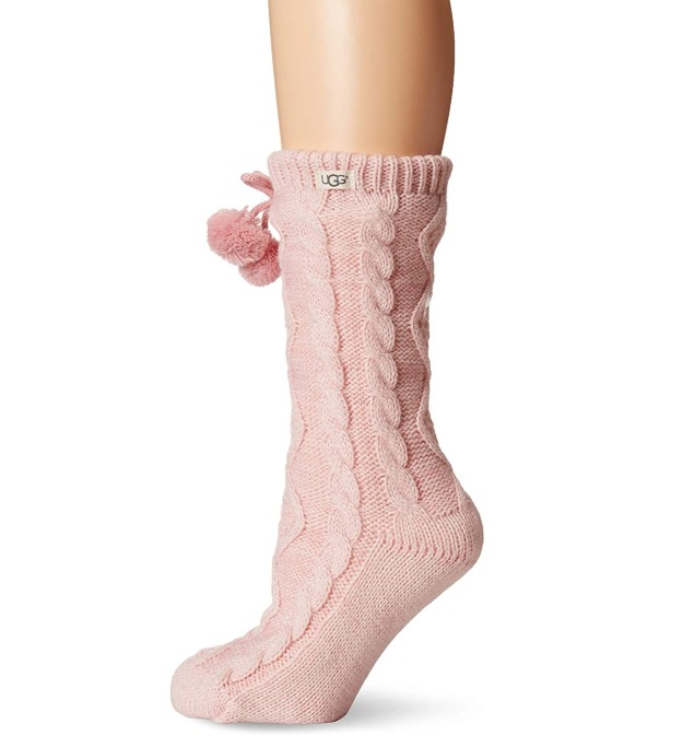 ugg pom cable crew sock
