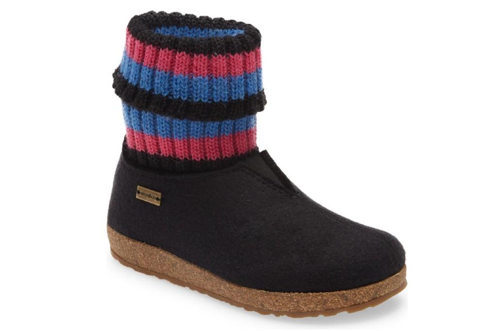 Haflinger Kristina Knit Sock Slipper Bootie, boot slippers