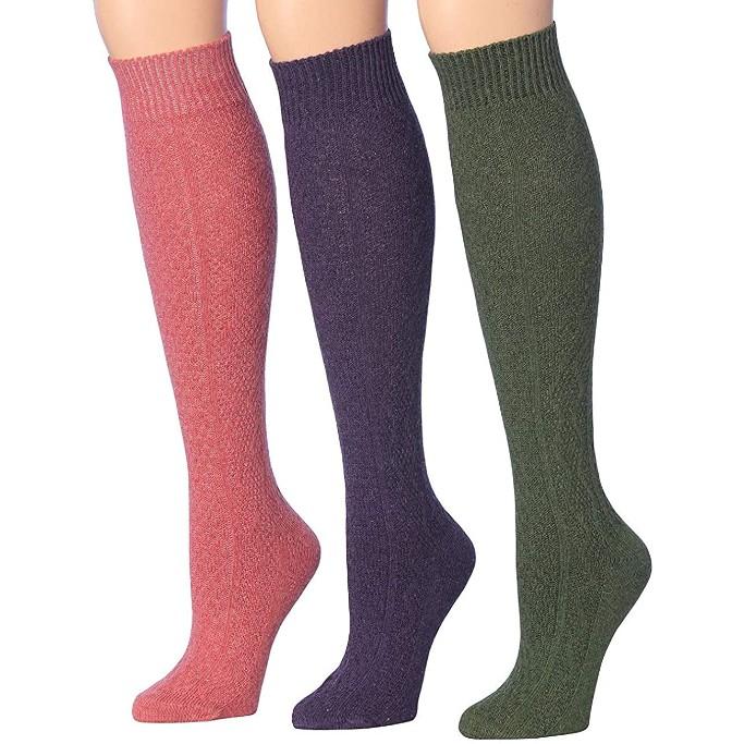 Tipi Toe Ribbed Knee-High Socks, knit boots socks