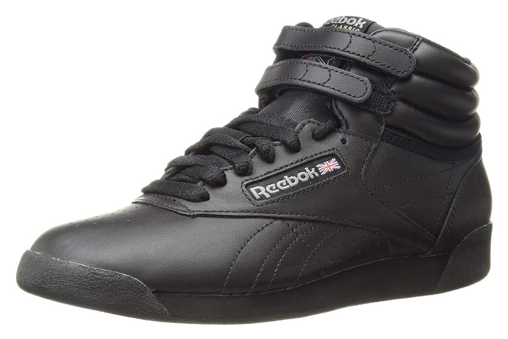 reebok, black sneakers, all black, high top