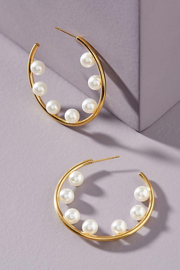 anthropologie, pearl, earrings