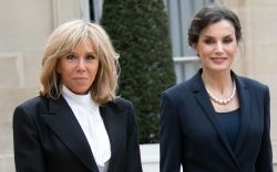 brigitte macron, paris, louis vuitton, boots,