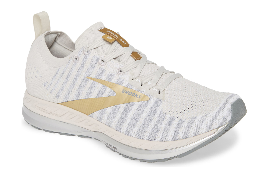brooks, running shoes, white, gold