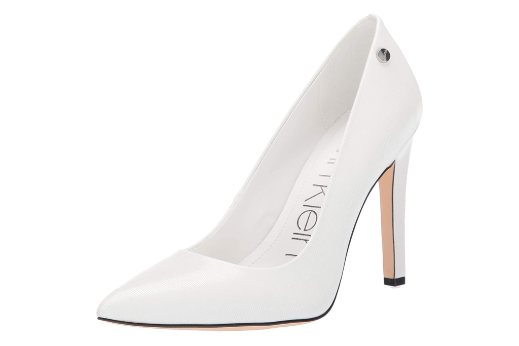 calvin klein, brady pumps, white