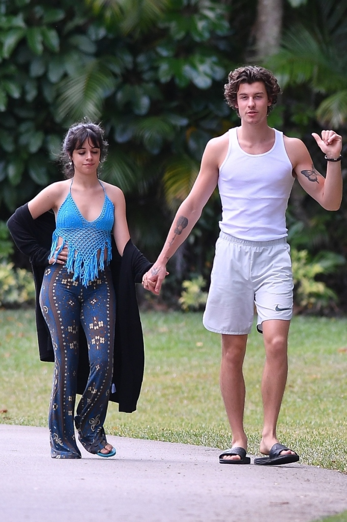 camila cabello, crop top, patterned pants, shawn mendes, walk, miami, thong sandal, slides, nike