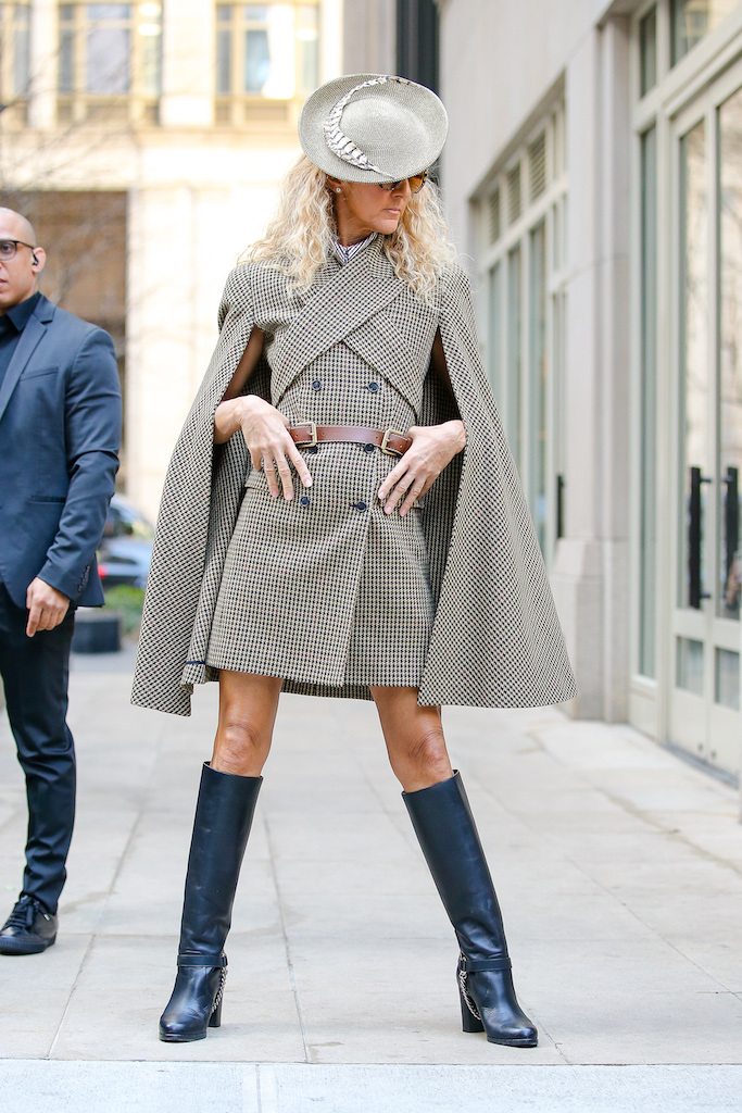Celine Dion looks stylish while posing in a Michael Kors outfit in New York City Pictured: Celine Dion Ref: SPL5154471 050320 NON-EXCLUSIVE Picture by: Felipe Ramales / SplashNews.com Splash News and Pictures Los Angeles: 310-821-2666 New York: 212-619-2666 London: +44 (0)20 7644 7656 Berlin: +49 175 3764 166 photodesk@splashnews.com World Rights