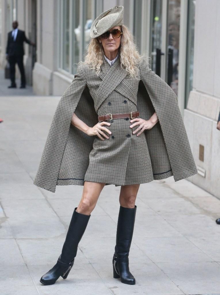 céline dion, celine dion, michael kors, hat, dress, cape, boots, new york