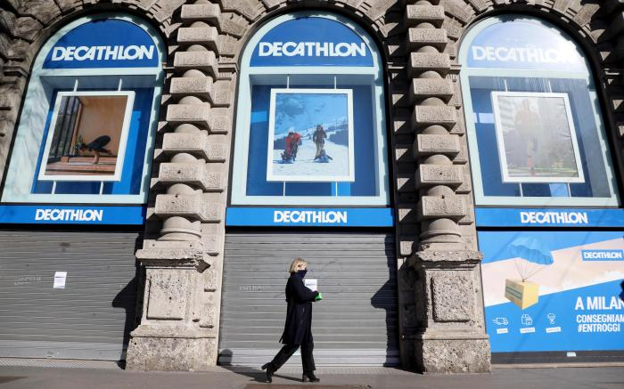 The Decathlon sporting goods store in Castello Square is closed amid the coronavirus emergency, in Milan, Italy, 11 March 2020.Empty stores and deserted roads in Italy due to Coronavirus outbreak, Milan - 11 Mar 2020
