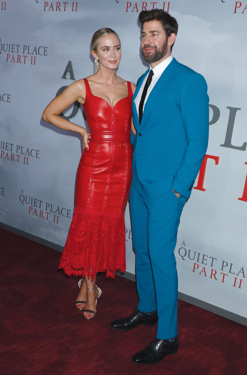 emily blunt, a quiet place part 2, red dress, heels, alexander mcqueen, john Krasinski, blue, christian louboutin,