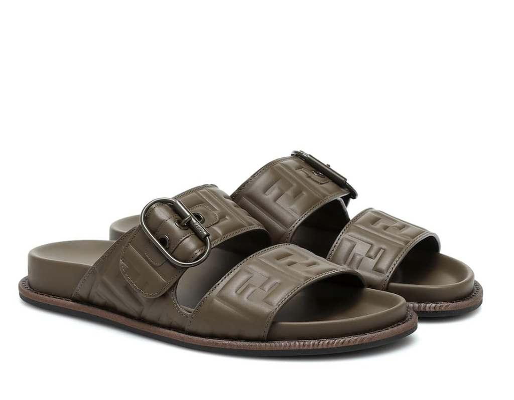 FF leather sandals, socks and sandals trend, designer slides