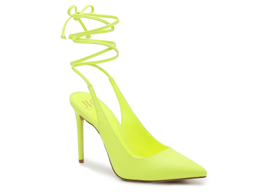 jlo, pumps, jennifer lopez, yellow, neon, dsw