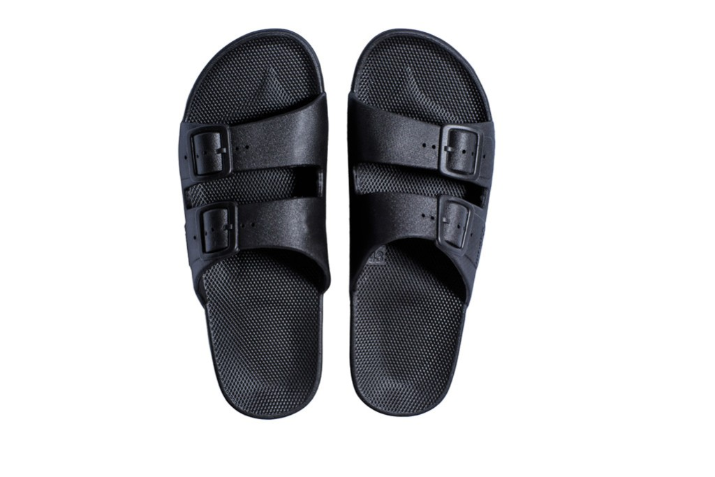Freedom Moses sandal, black sandal, black top slide